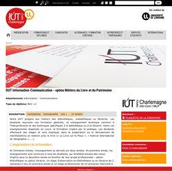DUT Information-Communication - option Métiers du Livre et du Patrimoine