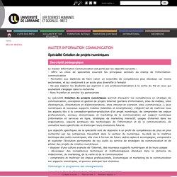 Master Information Communication Spécialité Créations de projets numériques