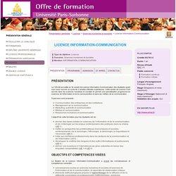 Licence Information-Communication - Université Paris Sorbonne