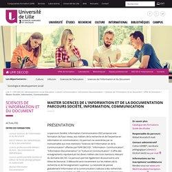 Master Société, Information, Communication - Offre de formation
