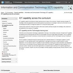 The Australian Curriculum v7.2 Information and Communication Technology (ICT) capability - ICT capability across the curriculum