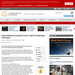 Humanitarian Innovation Fund - Call for Proposals now open