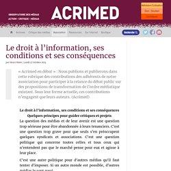 Le droit à l'information, ses conditions et ses conséquences