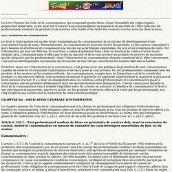 Information des consommateurs et formation des contrats