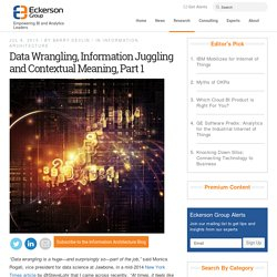 Data Wrangling, Information Juggling and Contextual Meaning, Part 1