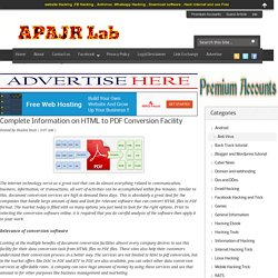 Complete Information on HTML to PDF Conversion Facility ~ APAJR Lab