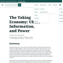 The Taking Economy: Uber, Information, and Power – Platform Cooperativism Resource Library