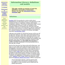 Information Literacy: definitions and models