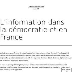 L'information dans la démocratie et en France