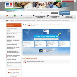 FDVA 2016 : les dates des réunions d'information 2016 dans les départements - DRJSCS Bretagne
