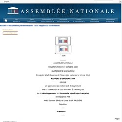 N°1936 - Rapport d'information de Mmes Corinne Erhel et Laure de La Raudière déposé en application de l'article 145 du règlement, par la commission des affaires économiques sur le développement de l'économie numérique