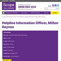 Helpline Information Officer - Disability charity Scope UK