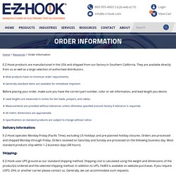 Order Information - E-Z-Hook, A Division of Tektest, Inc.