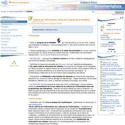 Culture de l'information, suites du Congrès de la FADBEN...- Les Enseignants Documentalistes de l'Académie de Poitiers