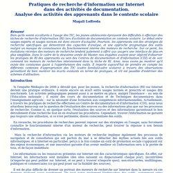 Pratiques de recherche d'information sur Internet dans des activités de documentation