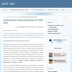 L'information-documentation et l'EMI (5/5) - prof' doc'