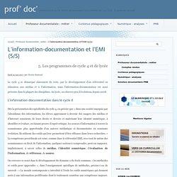 L'information-documentation et l'EMI (5/5) - prof' doc'