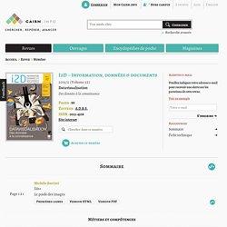 Revue I2D – Information, données & documents 2015/2
