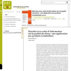 Marchés avec coûts d'information sur la qualité des biens : une application aux produits écolabellisés