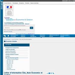 Lettre d'information Édu_Num Économie et gestion — ÉcoGest