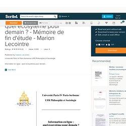 Information en ligne : quel écosytème pour demain ? - Mémoire de fin d'étude - Marion Lecointre