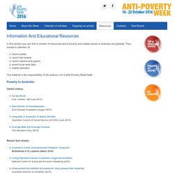 Information and education - Anti-Poverty Week