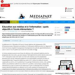 Education aux médias et à l'information : quels objectifs à l'école élémentaire ?