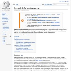 Strategic information system