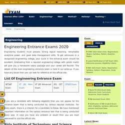 List Of Engineering Entrance Exam-Engineering Entrance exam Notification