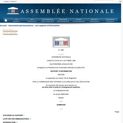 N° 2951 - Rapport d'information de M. Emeric Bréhier déposé en application de l'article 145 du règlement, par la commission des affaires culturelles et de l'éducation en conclusion des travaux de la mission sur les liens entre le lycée et l'enseignement s