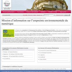 mission d'information sur l'empreinte environnementale du numérique- Sénat