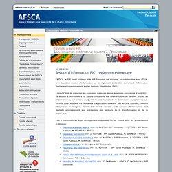 AFSCA 13/05/14 Session d'information FIC, règlement étiquetage