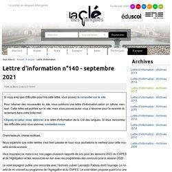 Lettre d'information n°130 - septembre 2020 — La clé des langues - Cultures et langues étrangères