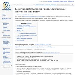 Recherche d'information sur l'internet/Évaluation de l'information sur l'internet