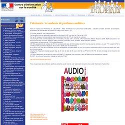 Fabricants / revendeurs de prothèses auditives