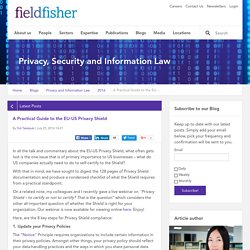 A Practical Guide to the EU-US Privacy Shield - Privacy, Security and Information Law Fieldfisher