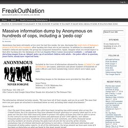 Massive information dump by Anonymous on hundreds of cops, including a 'pedo cop'