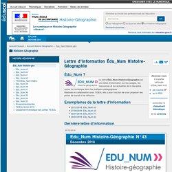 Lettre d'information Édu_Num Histoire-Géographie — Histoire-Géographie
