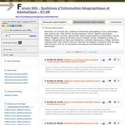 Forum SIG - Systèmes d'Information Géographique et Géomatique - 87,88