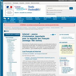 Internet : source d'information importante pour la majorité des Français (sondage TNS Sofres) — Enseigner avec le numérique