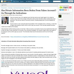 Has Private Information Been Stolen From Yahoo Account!! Go Through the Indications by Janifer Lewis