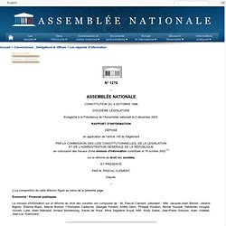 1270 - Rapport d'information en conclusion des travaux d'une mission d'informationsur la réforme du droit des sociétés (M. Pascal Clément)