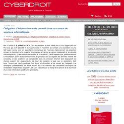 Obligation d'information et de conseil dans un contrat de services informatiques