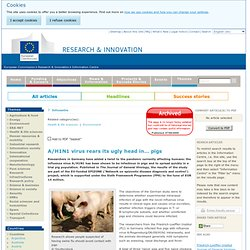EUROPE AOUT 2009 A/H1N1 virus rears its ugly head in… pigs