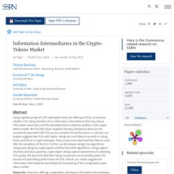 Information Intermediaries in the Crypto-Tokens Market by Thomas Bourveau, Emmanuel T. De George, Atif Ellahie, Daniele Macciocchi