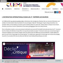 L'information internationale dans les JT : repérer les sources- CLEMI