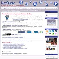 Valider l'information sur Internet : documents d'analyse