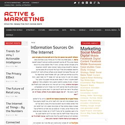 Information Sources On The Internet | Active & Marketing