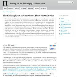 The Philosophy of Information: a Simple Introduction