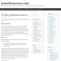 13. Other Information Sources – jonasfransson.com